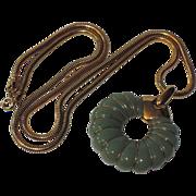 "Trifari 1970's Jade Green Lucite Pendant Necklace ~ Snake Chain 24"""