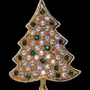 Hedy Rhinestone Aurora Borealis Christmas Tree Pin ~ Book Piece