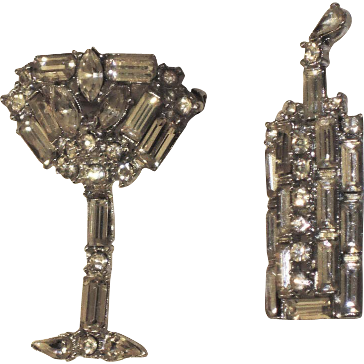 Chique of hollywood 1950 39 s champagne bottle glass pins sold on ruby lane - Chique campagne ...