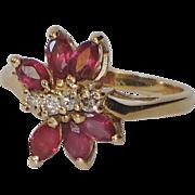 Ruby, Diamond 14K Gold Ring ~ Vintage 1970's ~ Size 6 US