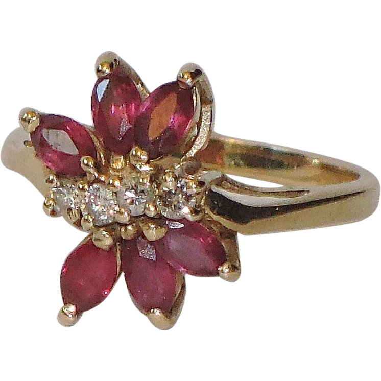 Ruby, Diamond 14K Gold Ring ~ Vintage 1970's ~ Size 6 US