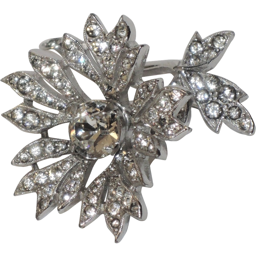 Christian Dior by Kramer Trembler 3D Flower Rhinestone Brooch