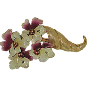 1950's Pansy Flower Cornucopia Brooch ~ Enamel & Rhinestones