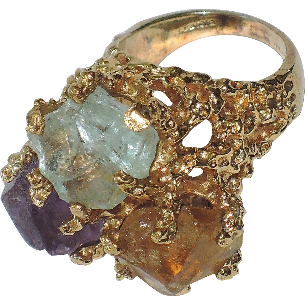 Panetta 1968 Sterling Vermeil Modernist Cocktail Ring ~ Aquamarine, Amethyst & Citrine