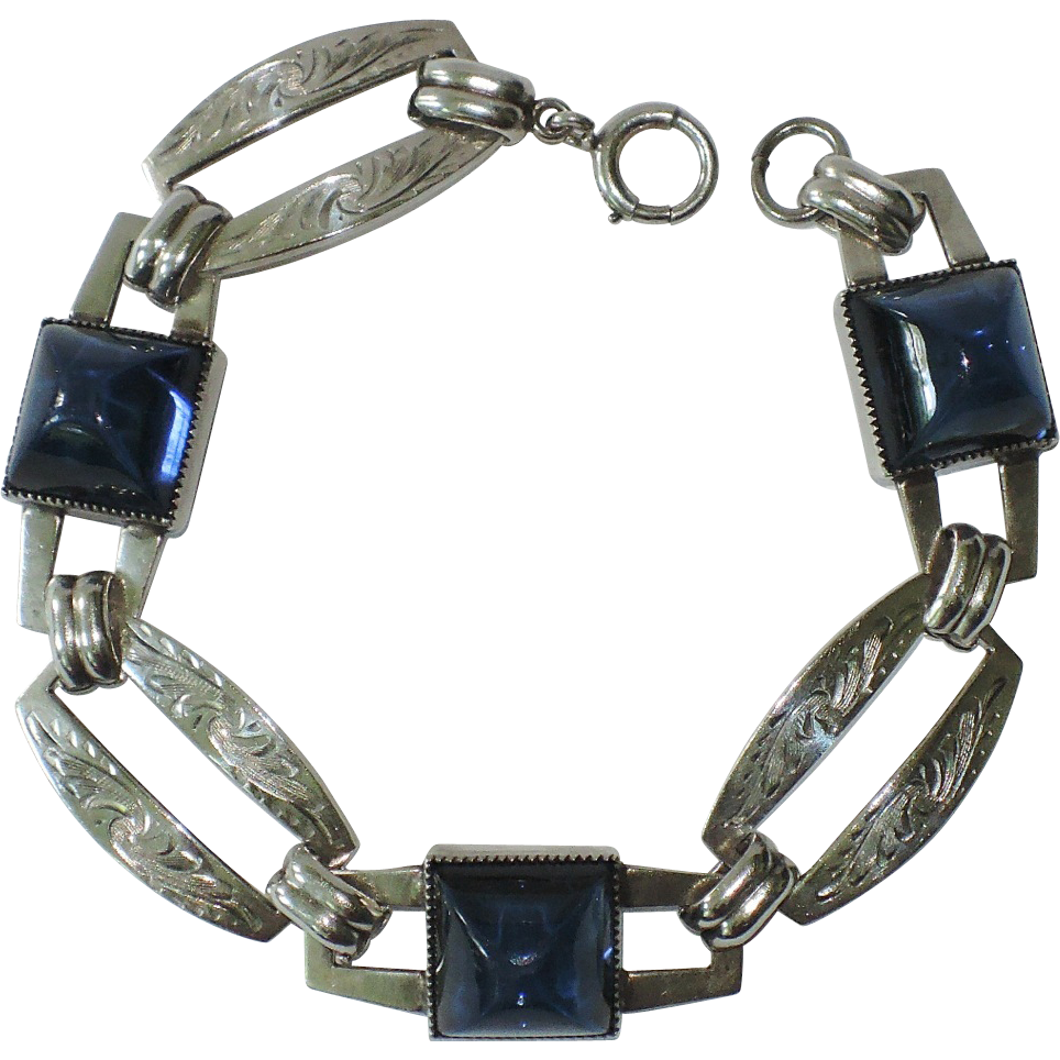 NAPIER Art Deco Sterling Silver High Dome Sapphire Glass Link Bracelet