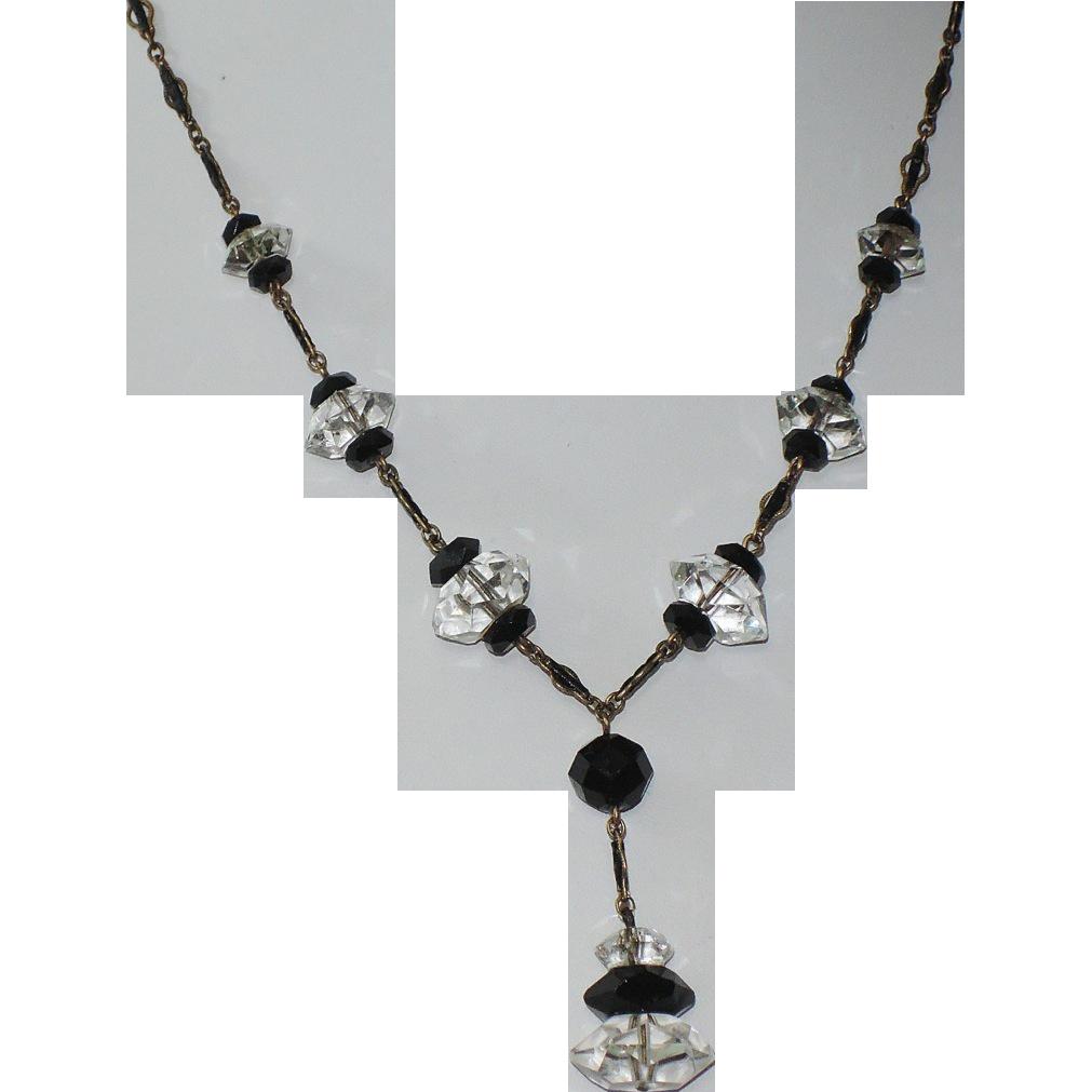 french art deco black jet  u0026 clear crystal drop necklace