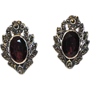 Art Deco Garnet Sterling Marcasite Earrings