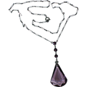 Art Deco Purple Glass Pendant Necklace