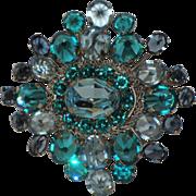 Austria 3D Reverse Set Stones Aquamarine Blue Brooch
