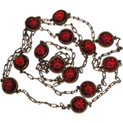 Accessocraft N.Y.C. 1960's Red Glass Sautoir Necklace 52""