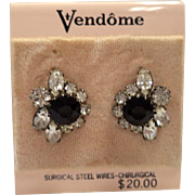 Vendome late 1960's Jet Glass & Rhinestone Earrings ~ Mint on Original Card