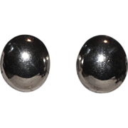 Talleres De Los Ballesteros Taxco Modernist Sterling Silver Oval Earrings