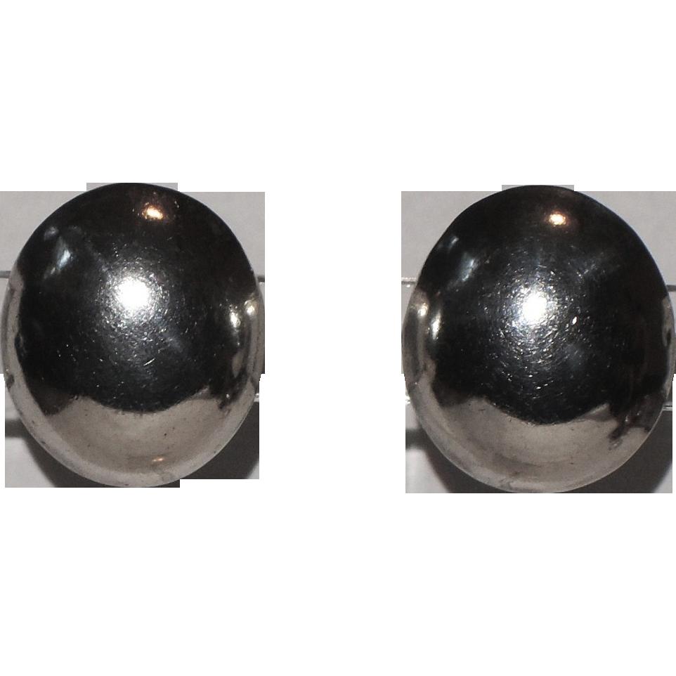 Talleres De Los Ballesteros Taxco Modernist Sterling Silver Oval Earrings