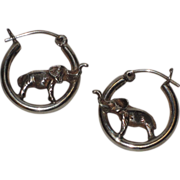 Elephant 3D Sterling Silver Hoop Earrings