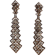 Trifari 1970's Zig-Zag Rhinestone Tie Drop Earrings