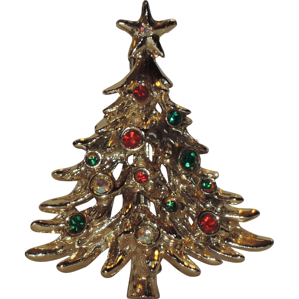 Tancer II Shiny Gold tone Christmas Tree Pin