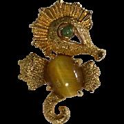 Alice Caviness Sterling Vermeil Seahorse Gemstone Pin