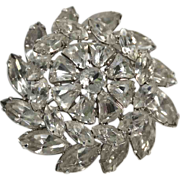 Weiss 1950's Pinwheel Snowflake Bell-shaped Rhinestone Brooch