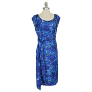 "1950's Silk Blue Floral Drape Cocktail Wiggle Dress, 40"" Bust"