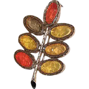 1960's Mod Autumn Fall Leaf Brooch