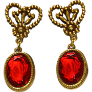 "Accessocraft N.Y.C. 1960's Red Glass ""Cut Steel"" Drop Earrings"