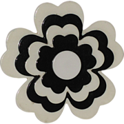 Corocraft 1960's 3D Stacked Black & White Flower Brooch