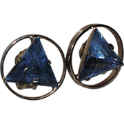 1960's Blue Triangle Gold Tone Circle Earrings