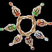 SCARCE Napier Chinese Lantern Charm Bracelet, Book Piece