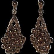 Napier 1960's Gold Ball Bead Chandelier Earrings