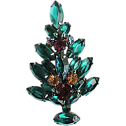Christmas Tree Pin Glass, Rhinestones in Gunmetal Setting, Unique