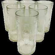 RARE Kerr Mid-century Tree Bark Icicle 16 oz. Tumbler Glasses ~ Set of 6