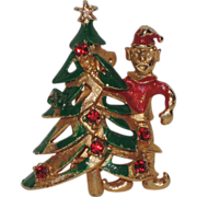 1950's Elf with Christmas Tree Pin ~ Rhinestones & Enamel