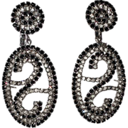 Vendome 1960's Huge Black & Clear Swirl Drop Earrings