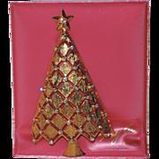 RARE Mylu Diamond Lattice 3D Christmas Tree Pin ~ Mint on Original Card, Book Piece