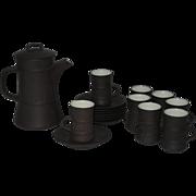 1963 Dansk Flamestone Brown Chocolate/Espresso Coffee Pot & Demitasse Cups/Saucers Set