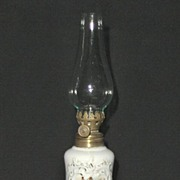 Miniature Oil Lamp with Hunt Scene