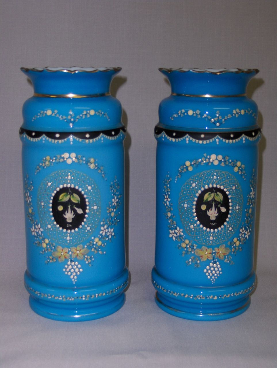 Pair of Antique Bristol Glass Vases