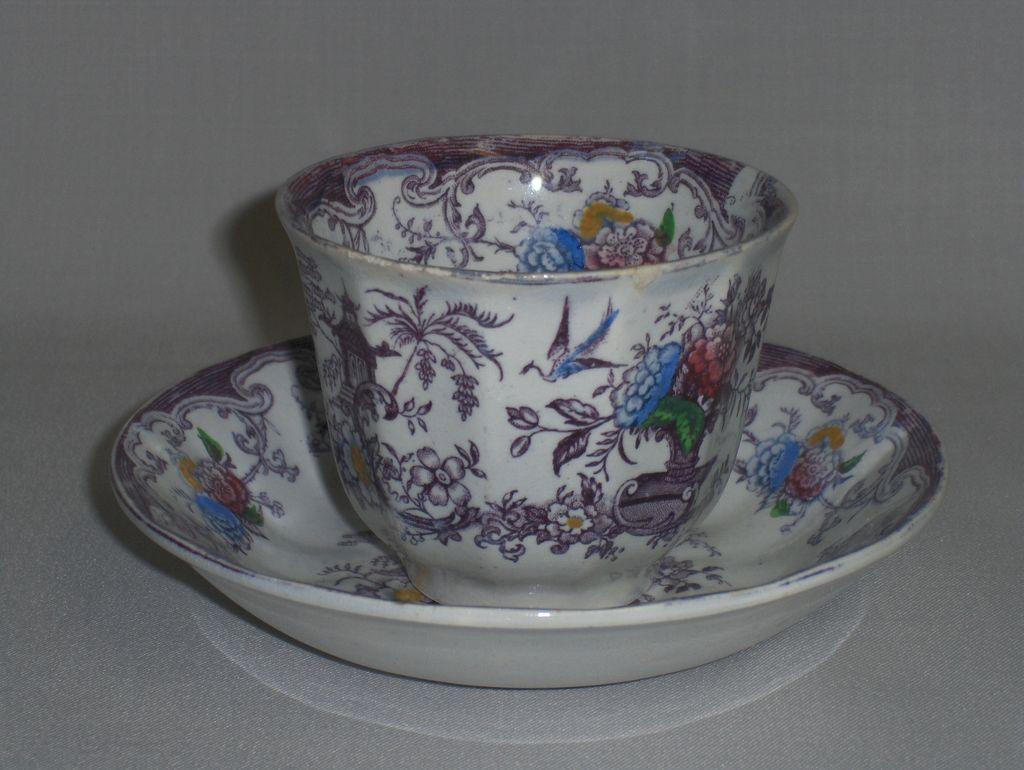 Antique Florilla Transferware Cup & Saucer