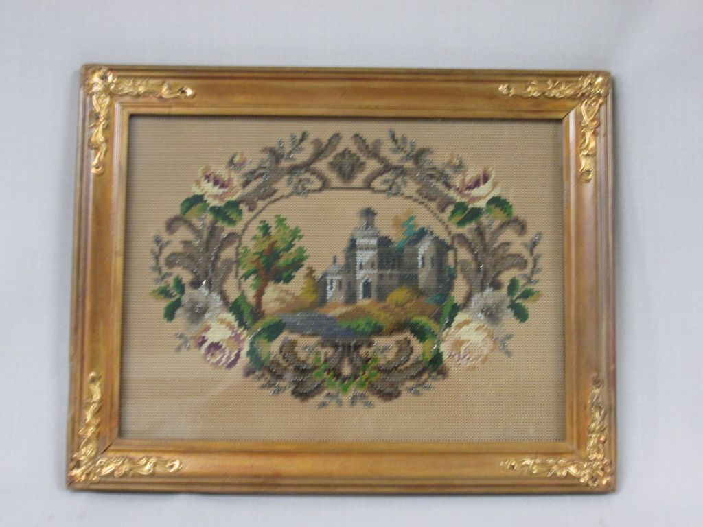 Antique Beadwork/Petite-Point Picture