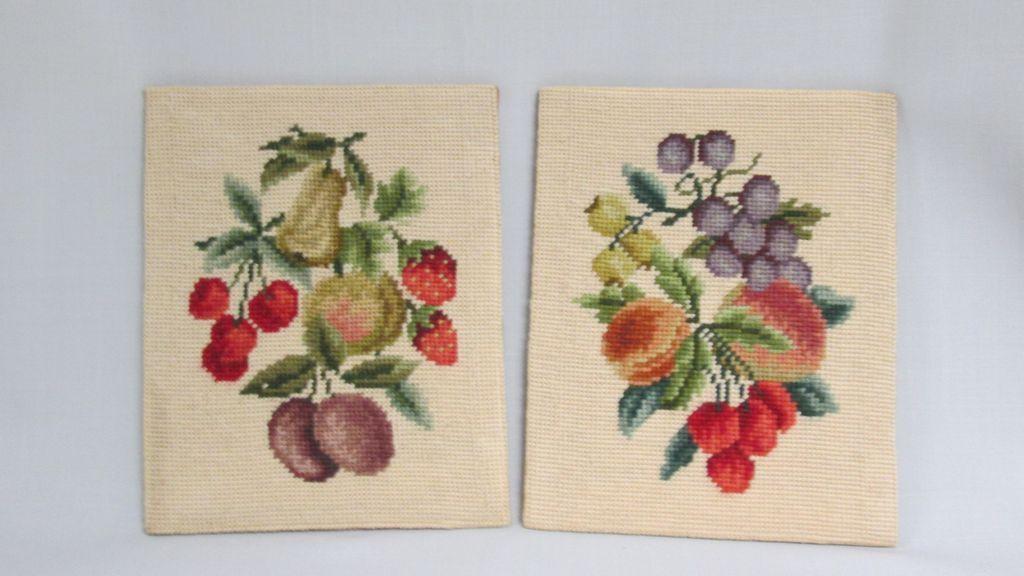 Pair of Vintage Needlepoint Panels