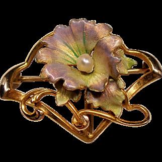 Antique Art Nouveau Iridescent Enamel Flower River Pearl 10K Watch Pin