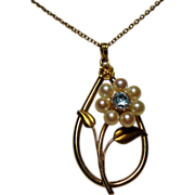 Vintage Retro Modern 10K Natural Blue Zircon Cultured Pearl Flower Pendant Necklace