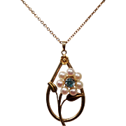 Vintage Natural Blue Zircon Cultured Pearl Flower 10K Pendant Necklace