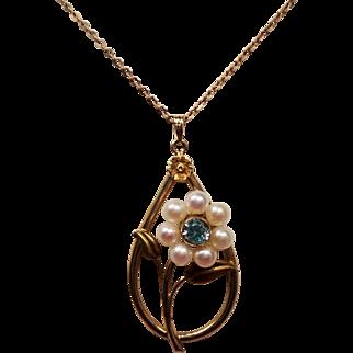 Vintage Natural Blue Zircon Cultured Pearl Flower 10K Pendant Necklace