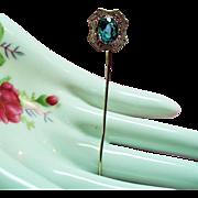 Vintage Art Deco 10K White Gold Filigree Aqua Glass Stone Stick Pin