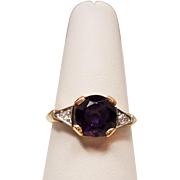Vintage Amethyst Diamond 14 Karat Gold Ring