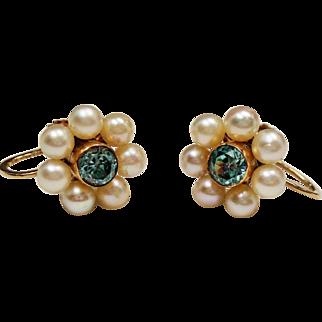 Vintage Blue Zircon Cultured Pearl Flower 14K Earrings