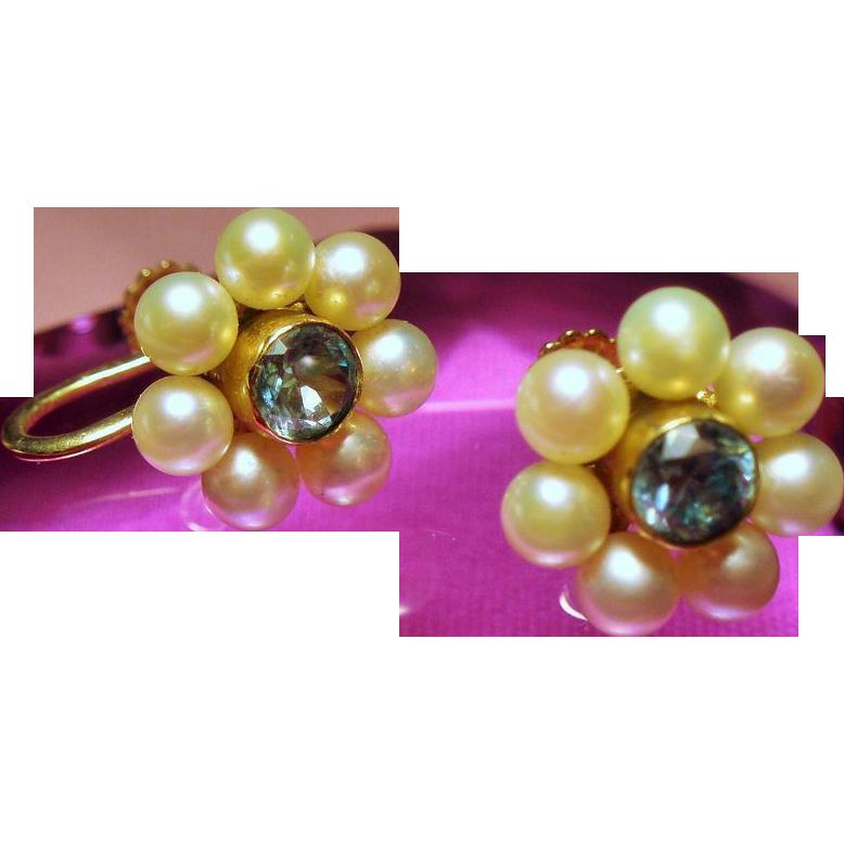 Vintage 14K Blue Zircon Cultured Pearl Flower Earrings