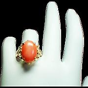 Vintage Coral Cabochon Stone 14K Gold Ornate Ring