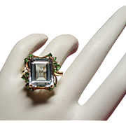 Vintage Icy Emerald Cut Aquamarine and Peridot 14K Ring
